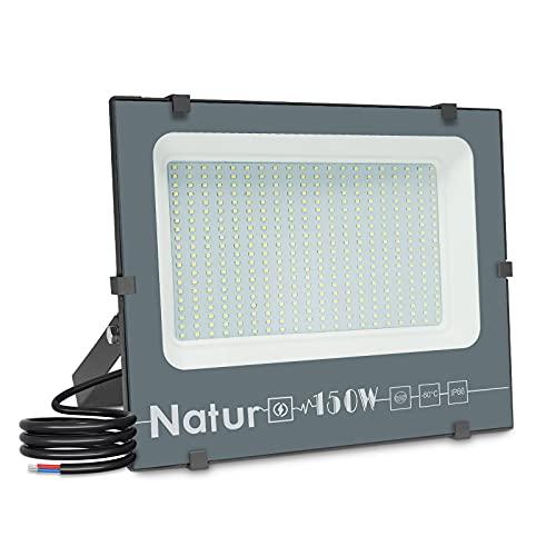 150W Focos LED Exterior,15000LM Alto Brillo Proyector LED Foco LED Interior,6000K Blanco Frío Luz Exterior luz exterior pared IP66 Impermeable Luces Foco Luz LED para Iluminación de Seguridad