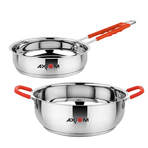 AXIOM FRYPAN & KADAI Stainless Steel Set with Induction...