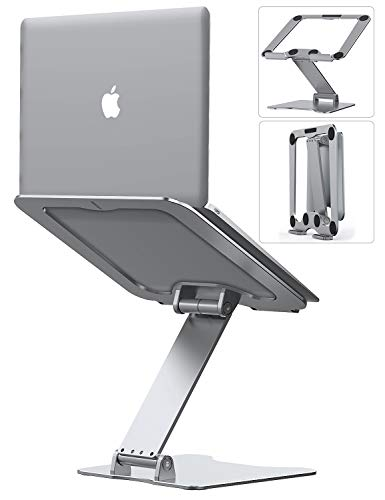 Almoz ノートパソコンスタンド PCスタンド タブレットスタンド 高さ角度調整可能 放熱性抜群 折りたたみ式 パソコンスタンド 軽量 姿勢改善 腰痛/猫背解消 滑り止め アルミ合金製 Macbook/Macbook Air/Macbook Pro/iPad/ノートPC/タブレットなど17インチまでに対応(シルバー)