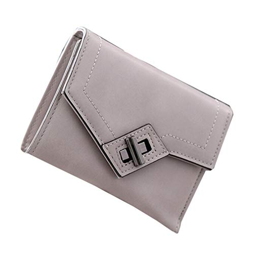 Find Discount Iumer Women Short Wallet PU Leather Creative Rotating Lock Two Fold Candy Color Casual...