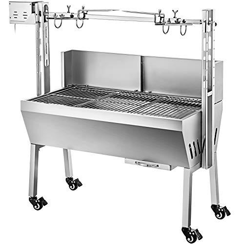 VEVOR BBQ Spießgrill Tisch Spießbratengrill mit Grillmotor für Hähnchen Lamm, Rind oder Rollbraten, mit höhenverstellbarer Spieß für bis zu 60 kg Grillgut, Grillfläche Holzkohlegrill: ca. 88 x 44 cm