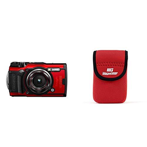 Olympus Tough TG-6 Actionkamera, 12 Megapixel Sensor, Digitale Bildstabilisierung, 4X-Weitwinkel-Zoom, 4k-Video, 120fps, Wi-Fi, rot und MegaGear Ultraleichte Kameratasche aus Neopren