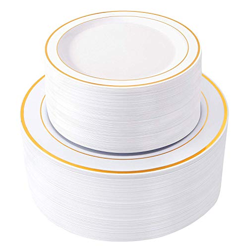 175 PCS Gold Plastic Plates with Disposable Plastic Silverware,Lace Design Plastic Tableware sets-25 Dinner Plates,25 Salad Plates,25 Forks, 25 Mini Forks,25 Knives, 25 Spoons,25 Napkins (Gold)