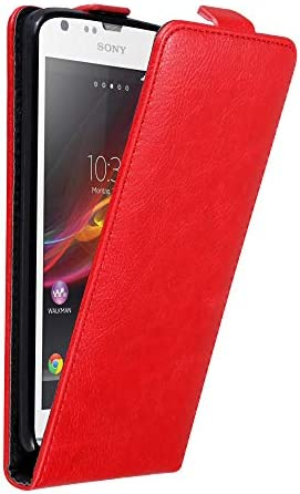 Cadorabo Case Compatible with Sony Xperia SP in Apple RED Flip Style Case with Magnetic Closure product image