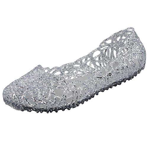 PhiFA Womens Jelly Ballet Flats Shoes Silver US Size 8