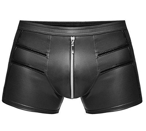 1001-kleine-Sachen at Boxer-Short H006 Herren Boxershort Wetlook-Short Herrenslip Unterhosen in schwarz von Noir Handmade Dessous (XL=7)