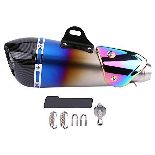 Ejoyou Duokon 51mm Set di marmitta di Scarico per Moto, Fashion Blue Universal Slip on Terminale di Scarico Marmitta Tubo di Scarico