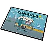 Herz & Heim Personalisierte Fußmatte für Camper mit Campingwagen Motiv Größe: 50 x 70 cm