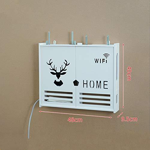 ZHAOYAN Router Rek Wandopknoping Wifi Plaatsing Rek Glasvezel Optische Kat Opbergdoos Hangende Muur Type 48 * 9,5 * 40 Wit