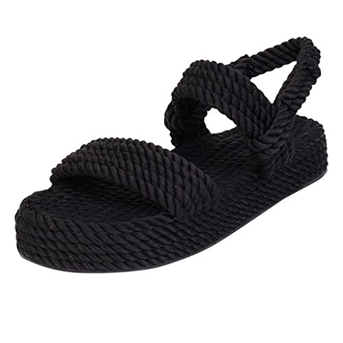Best Bargain KCPer Hemp Gladiator Rope Sandals for Women Natural Beach Platform Sandals Slides Flip ...