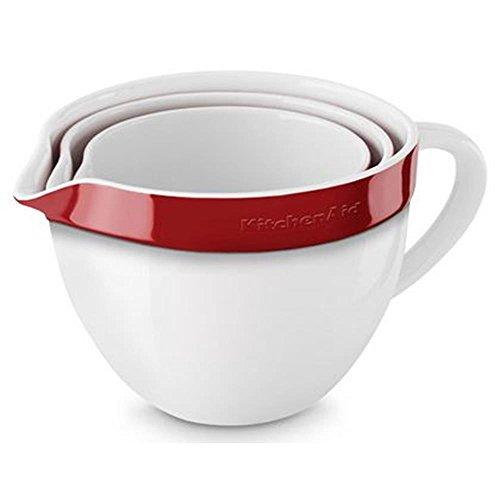 KitchenAid Rührschüsseln, Keramik, weiß/rot, 18.5x18.5x14 cm