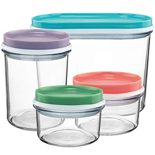 Southern Homewares SH-10223 Nestable Stackable Storage Containers Set of Four Perfect Pantry Organizer Solution Plastic Food Bins One Size Multicolor