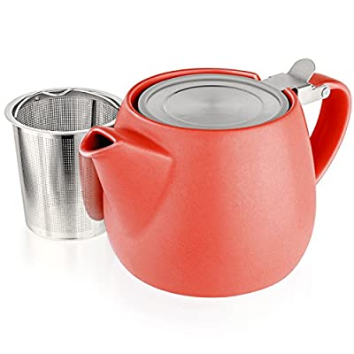 Tealyra - Pluto Porcelain Small Teapot Orange - 18.2-ounce (1-2 cups) - Matte Finish - Stainless Steel Lid and Extra-Fine Infuser To Brew Loose Leaf Tea - 540ml