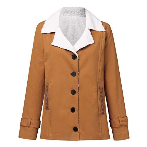 BIBOKAOKE - Abrigo de invierno para mujer, cálido, de manga larga, con bolsillo de felpa Khaki16. L