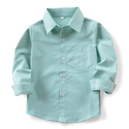 OCHENTA Little Big Kids jongens met lange mouwen Button Down Oxford Shirt