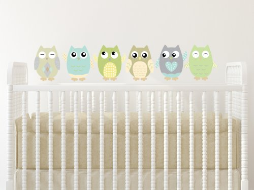 """Sunny Decals Owl Fabric Wall Decals (Set of 6), Small/6"""", Green/Taupe/Grey"""