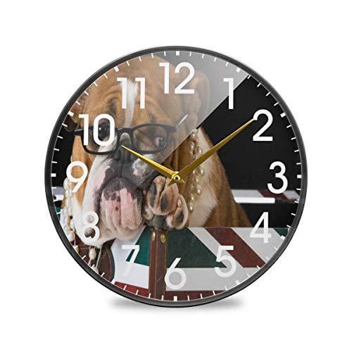Bulldog inglés Puppy Dog Bandera británica del Reino Unido Londres Reloj de Pared Redondo Funciona con Pilas Sin tictac Cuarzo silencioso para el hogar Sala de Estar Oficina Cocina Dormitorio