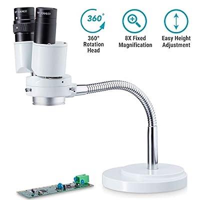 AmScope 8X Magnification Binocular Stereo Microscope w/ 360 Revolve - Dental, Lab, Electronic Repair, Soldering, Shop Gooseneck Illuminator