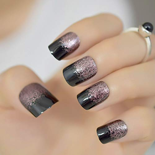 CoolNail Black Light Soft Coffee Brown Glitter French False Nail Square Head Shimmer Fake Nails Tips Bride Daily Office Summer Wear