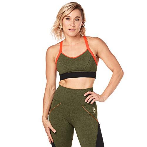 STRONG by Zumba Damen Sport-Bralette, Damen, BH, Women's Strappy Workout Bralette Activewear, olivgrün, Small