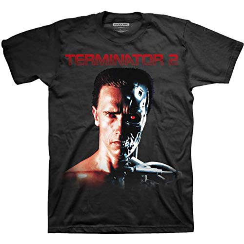 Terminator 2 Logo T-shirt with Arnold Schwarzenegger and T-800 Face