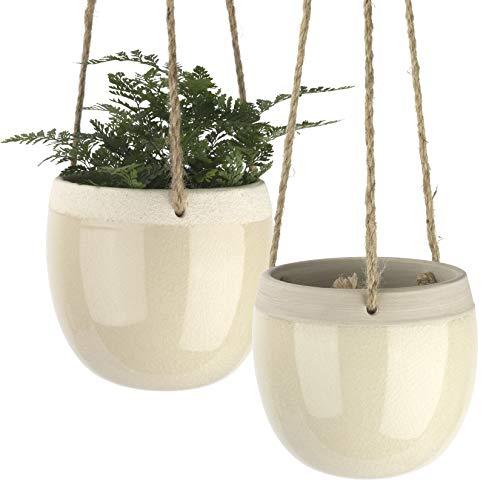 Hängende Keramik Blumentöpfe für drinnen – 14cm Blumentöpfe zum Aufhängen, moderne Pflanzenbehälter mit Juteseil für Sukkulenten, Kakteen, Kräuter, Pflanzen, Deko Geschenk, 2er Set, creme