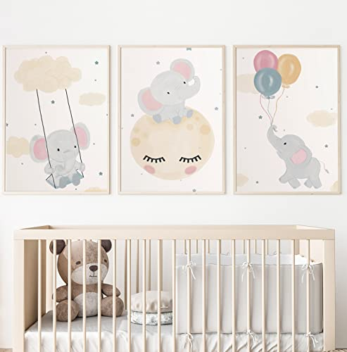 Kolorix Láminas Infantiles para Decorar habitación niños. Cuadros Infantiles decoración Infantil. Conjunto de 3 Cuadros DIN A4. Póster con Animales para decoración Infantil.
