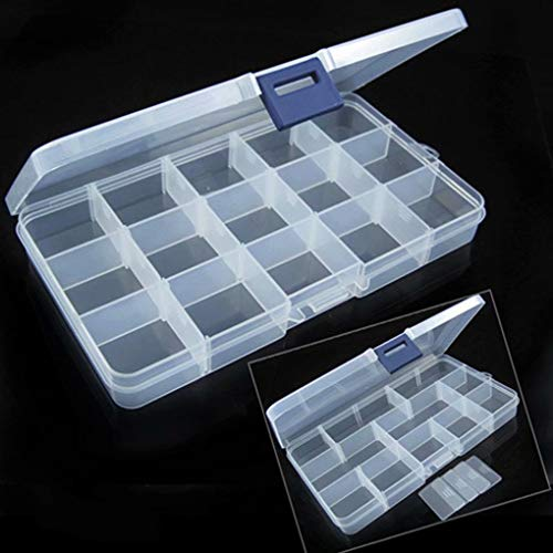 15 Grid Boite étui Coffret Plastique Rangement Bijoux Manucure Maquillage à Usages Multiples Récipien