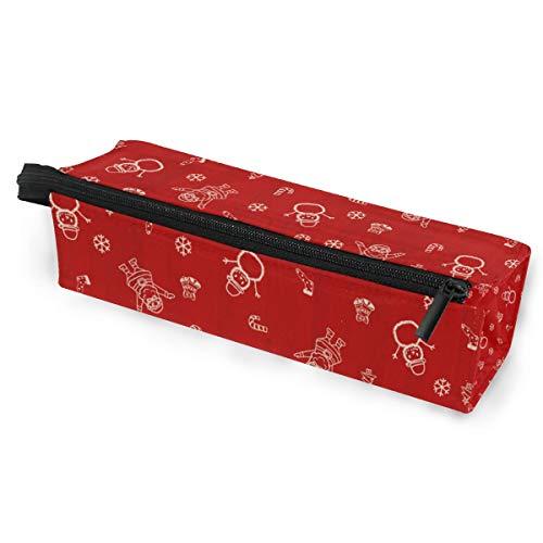 Crayon Sac Stylo Etui Poche Rouge Bonhomme De Neige Art Motif De Noël Maquillage Cosmétique Lunettes De Soleil pour Les Filles Garçons École De Voyage