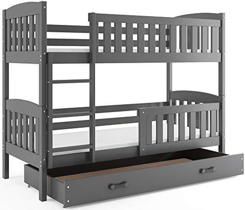 Interbeds Etagenbett QUBA 200x90 mit Lattenroste, Matratzen und Schublade in WEIβ, GRAU, Erle und Kiefer (grau + grau)