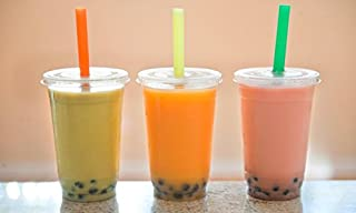 100 Sets 16 oz. Plastic CLEAR Cups with Flat Lids And Fat Straws for Bubble Boba Tea Smoothie By KC commerce