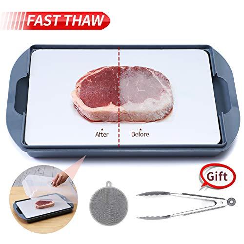 GEMITTO Auftauplatte mit Auffangschale, Rapid defrosting Tray für gefrorenes Fleisch, Schnellauftauplatte Mit Tablett, 36x23x9 cm 2MM