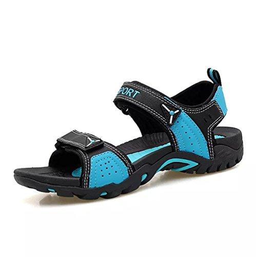 Sandales de Sport Marche Randonnée Chaussures Femme Cuir Plage Trekking Leather Respirant Confort Plage Été(Bleu,45/46 EU,28CM du Talon aux Orteils