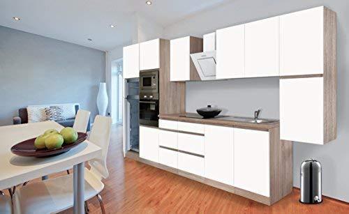 Respekta Premium griploze kitchenette keuken 385 cm eiken ruw gezaagd replica wit mat incl. softclose/koel-vriescombinatie 144 cm & keramische kookplaat