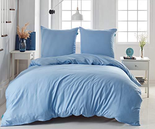 Melunda 3 TLG. Mako Satin Bettwäsche Set | Bettdeckenbezug 240x220 cm mit 2 Kopfkissenbezüge 80x80 cm | Himmelblau | 3 teilig Bettgarnitur | Baumwolle Bettbezug mit Reißverschluss