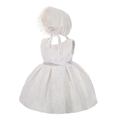 Lito Angels Baby Mädchen Taufkleid Taufanzug Taufe Hochzeit Blumenmädchen Kleid mit Hut Diamant Spitze 6 Monate Elfenbein