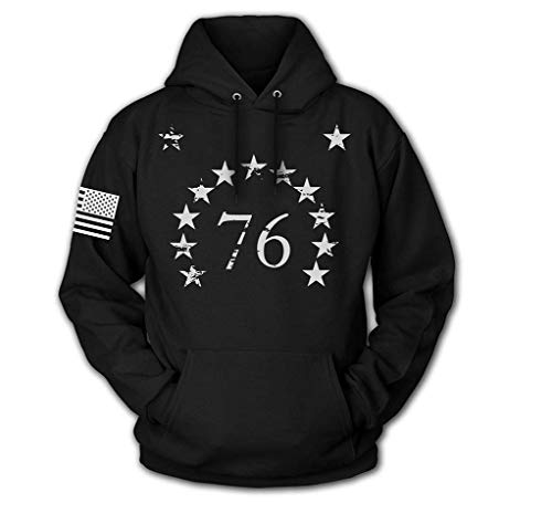 Tactical Pro Supply USA Sweatshirt Hoodie- American Flag Patriotic Jacket Sweater for Men or Women - 1776 Stars Black (X-Large)