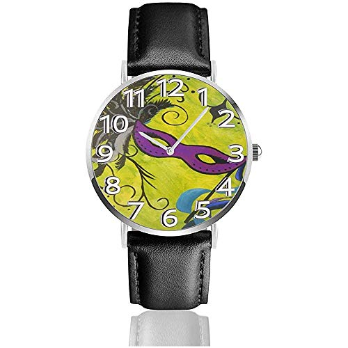 Karneval-Maske in grünem Leder sehen Unisex-Armbanduhren Quarzuhr tragen Uhren