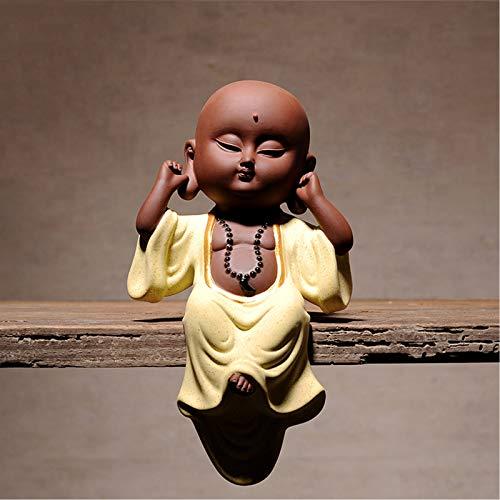LINAG Estatua Monje Feng Shui Decoracion para Yoga, Estatuas de Pequeños Budas Sabios Figuras de Mascotas de Té para Hogar - No Veas Ningún Mal, No Escuches Ningún Mal, No Hables Mal,Don't Listen