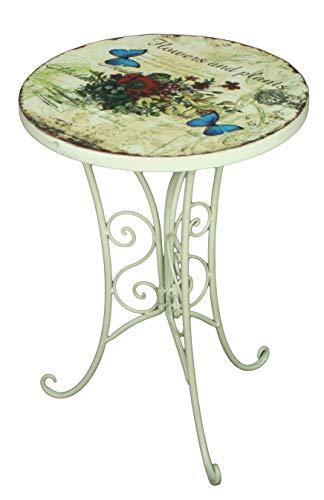 Unbekannt VARILANDO® 2er-Set Deko-Beistelltisch mit floralem Muster und Antik-Finish Metall-Tisch Deko-Tisch Kaffee-Tisch