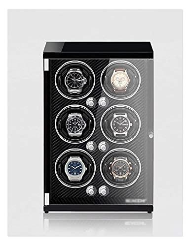 NuanXing Enrollador de Reloj para 6 Relojes, Pintura de Piano, antimagnético, Almohada retráctil, luz led de inducción, Motor japonés Ultra silencioso (Color: Fibra de Carbono)
