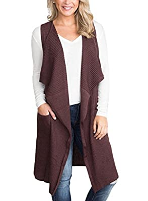 Sidefeel Women Sleeveless Open Front Knitted Long Cardigan Sweater Vest Pocket Large Coffee