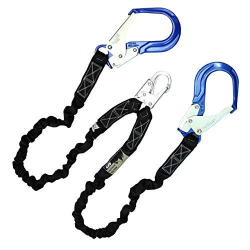 AFP 6FT Double Leg Internal Shock Absorbing Safety Fall Protection Lanyard with Dual Aluminum Pelican Rebar & Steel Snap Hook |Heavy-Duty Webbing | OSHA & ANSI Rated (Aluminum)