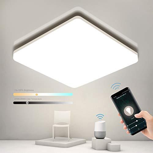 Smart LED Deckenleuchte Dimmbar, Oeegoo WIFI LED Deckenlampe,15W 1500LM Flimmerfreie LED Leuchte Alexa, Google Home kompatibel, App- / Sprachsteuerung, IP54 Wasserdichte Wohnzimmerlampe