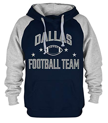 Mens Dallas Football Embroidery Soft Cotton Sweatshirt Hoodie, Navy, Large