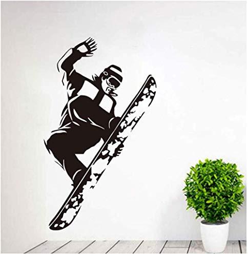 Sprung Snowboarder Aufkleber Jungen Schlafzimmer Dekorative Selbstklebende Abnehmbare Vinyl Porträt Wandaufkleber 58 cm X 97 cm