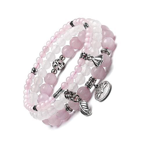 Rose Quartz Crystal White Jade Bracelet Set Women Healing Crystals Gemstones 3pc