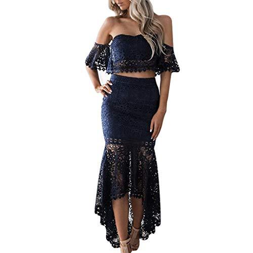 LSAltd Mode Frauen Sexy Tube Top Blumenspitze, figurbetontes Rüschen, unregelmäßiger Saum, Rock, eleganter einfarbiger Party-Zweiteiler