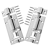 Bolt Lock - 2 Pcs Door Bolt, Stainless Steel Sliding Door Locks Latch, Gate Bolt Door Security Slide Lock Bolts for Bedroom Bathroom and Toilet with 16 Screws for All Types of Internal Doors