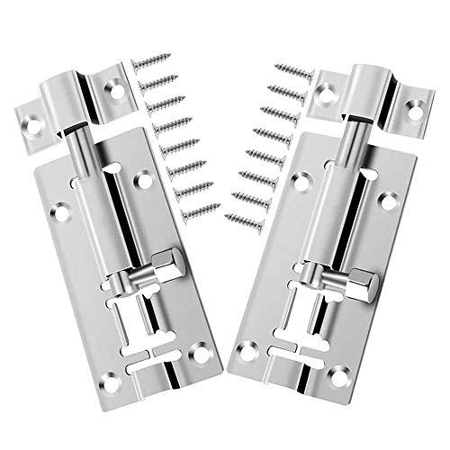 Bultlås – 2 st dörrbult, rostfritt stål skjutdörr lås spärr, grindbult dörr säkerhet glidlås bultar för sovrum badrum och toalett med 16 skruvar för alla typer av innerdörrar